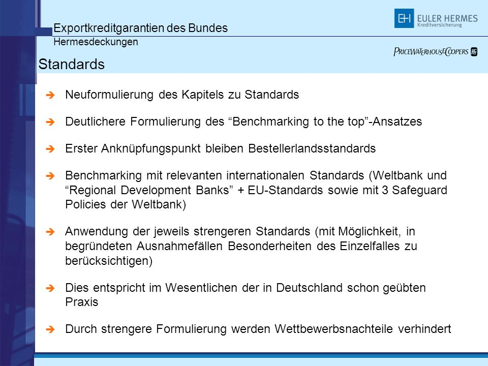 Standards Exportkreditgarantien des Bundes