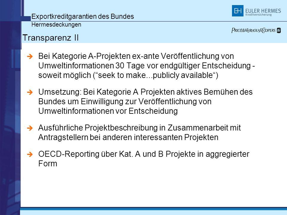 Transparenz II Exportkreditgarantien des Bundes