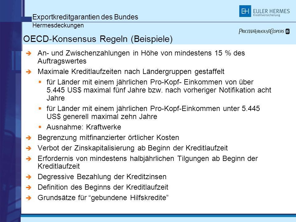 OECD-Konsensus Regeln (Beispiele)