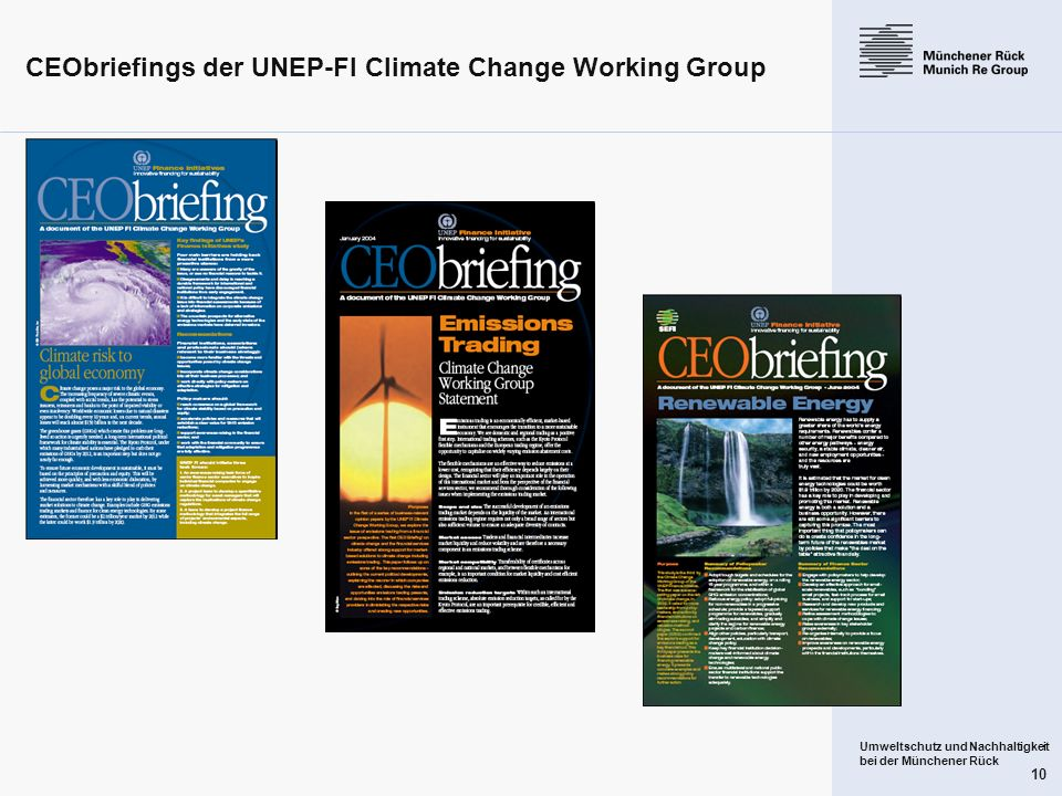 CEObriefings der UNEP-FI Climate Change Working Group