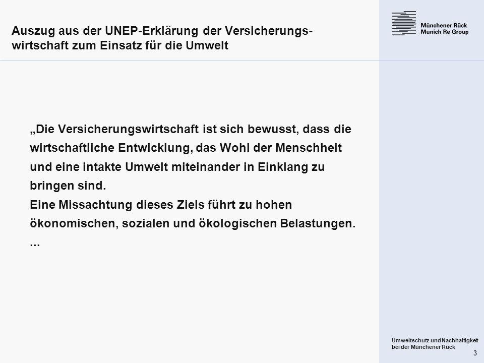 Auszug aus der UNEP-Erklärung der Versicherungs-wirtschaft zum Einsatz für die Umwelt