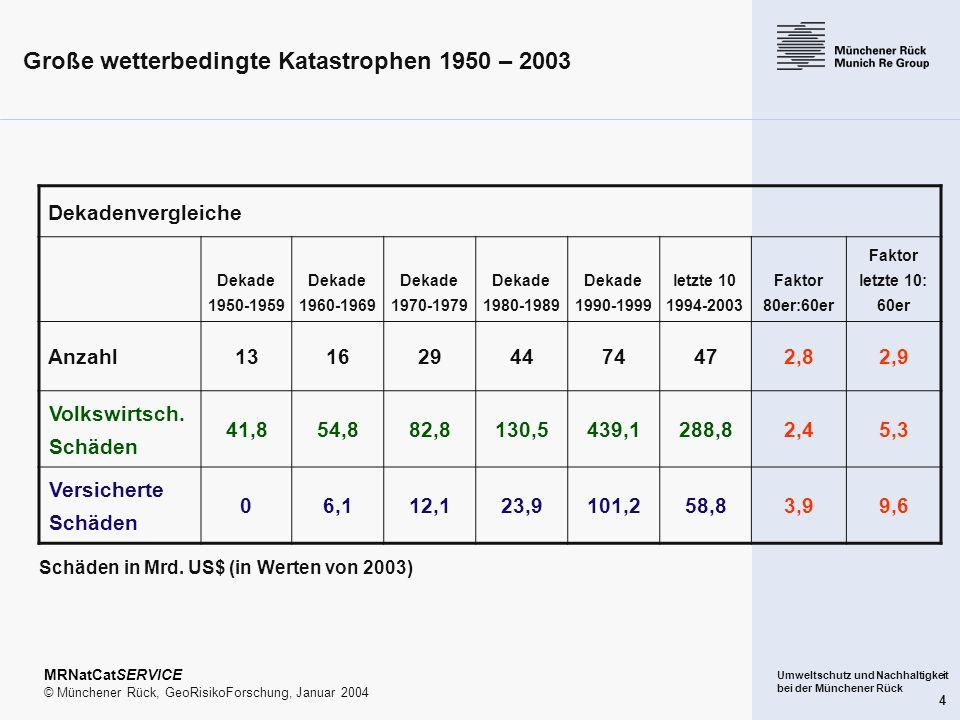 Große wetterbedingte Katastrophen 1950 – 2003