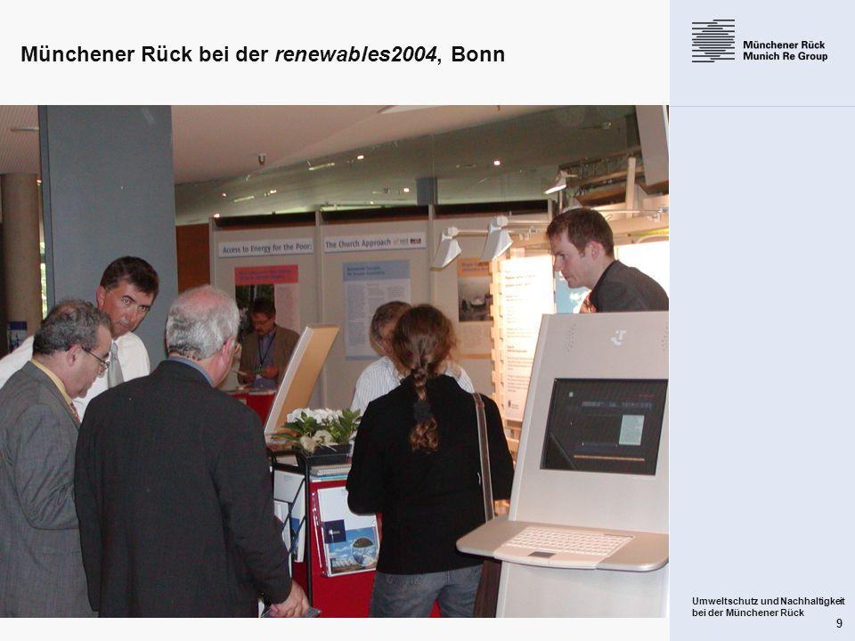 Münchener Rück bei der renewables2004, Bonn