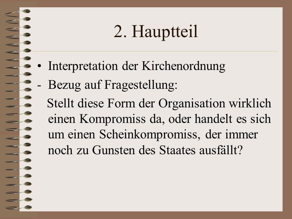 2. Hauptteil Interpretation der Kirchenordnung