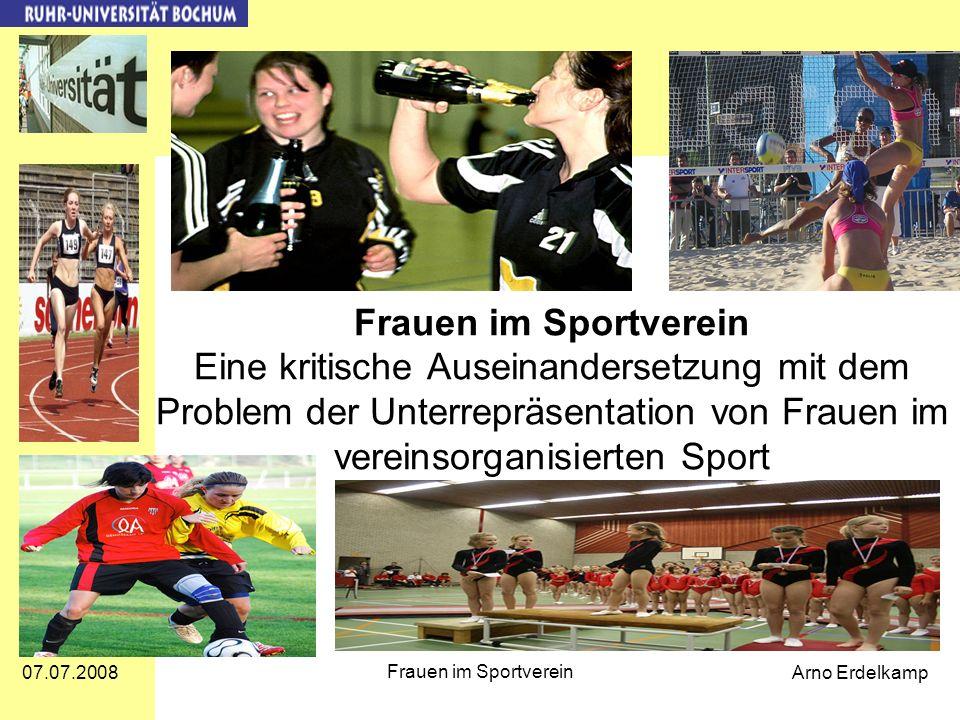 Frauen im Sportverein Eine kritische Auseinandersetzung mit dem Problem der Unterrepräsentation von Frauen im vereinsorganisierten Sport