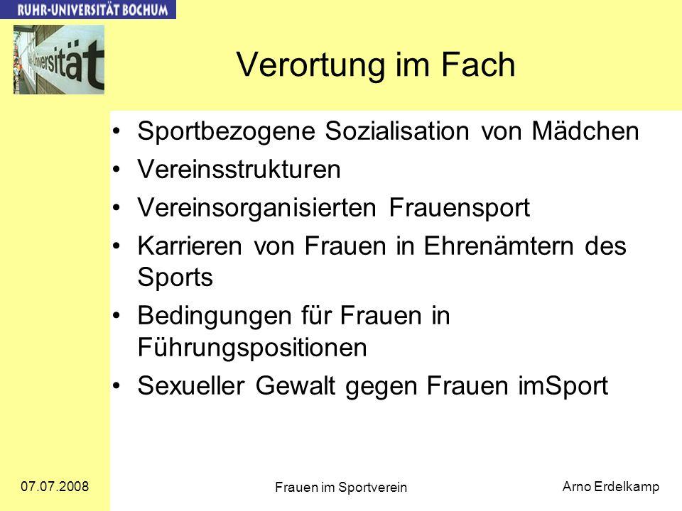 Verortung im Fach Sportbezogene Sozialisation von Mädchen