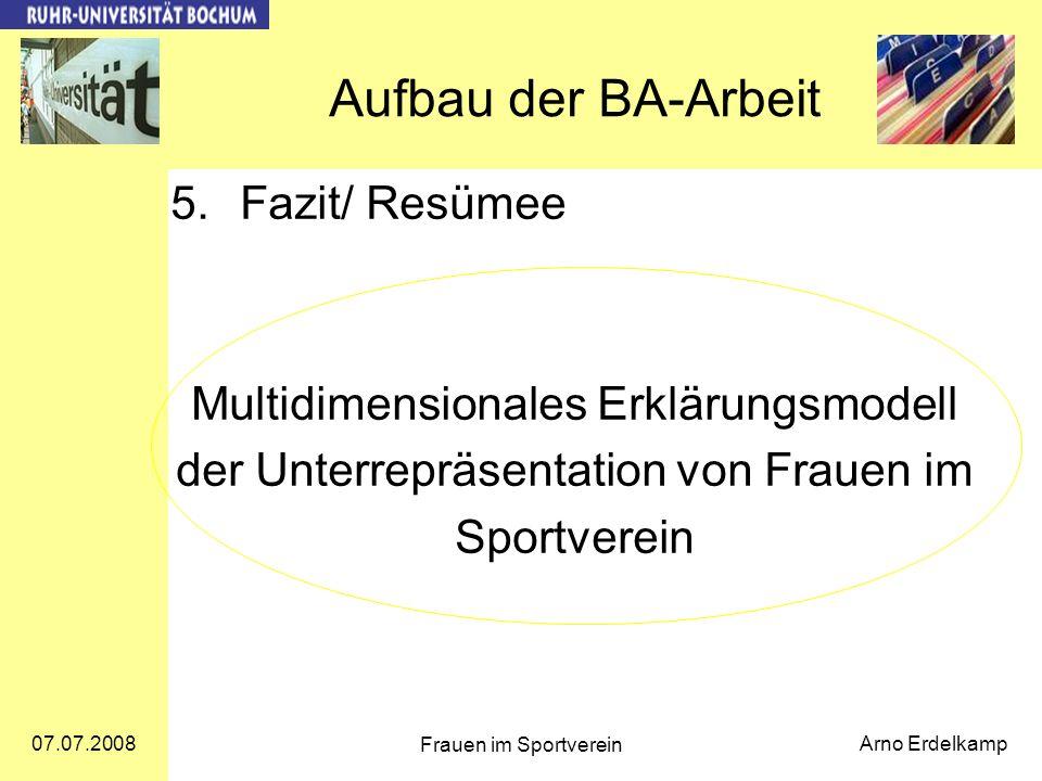 Aufbau der BA-Arbeit Fazit/ Resümee
