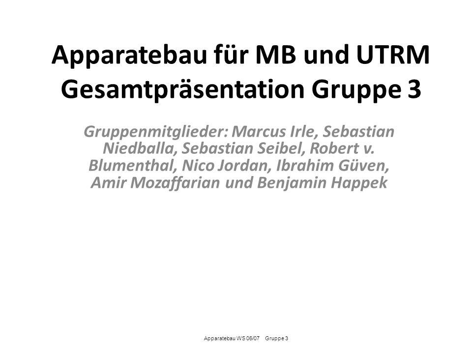 Apparatebau für MB und UTRM Gesamtpräsentation Gruppe 3