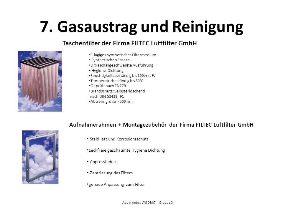 7. Gasaustrag und Reinigung