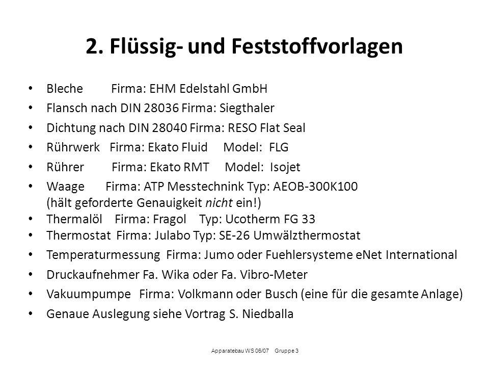 2. Flüssig- und Feststoffvorlagen
