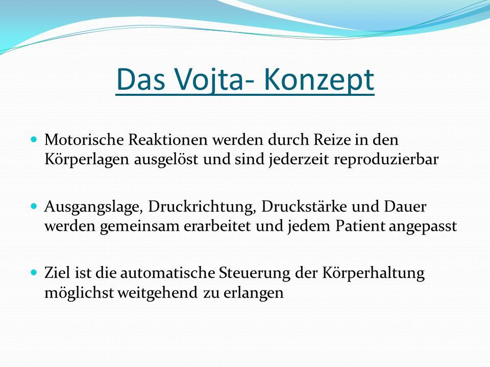 Das Vojta- Konzept Motorische Reaktionen werden durch Reize in den Körperlagen ausgelöst und sind jederzeit reproduzierbar.