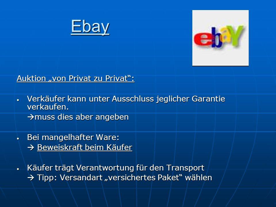 """Ebay Auktion """"von Privat zu Privat :"""