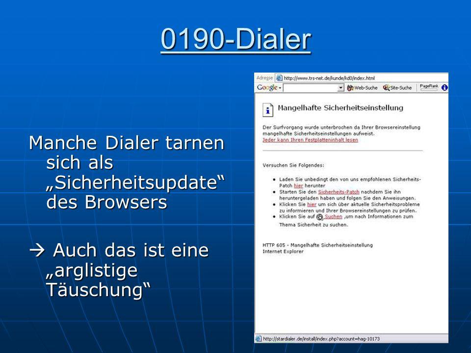 """0190-Dialer Manche Dialer tarnen sich als """"Sicherheitsupdate des Browsers."""
