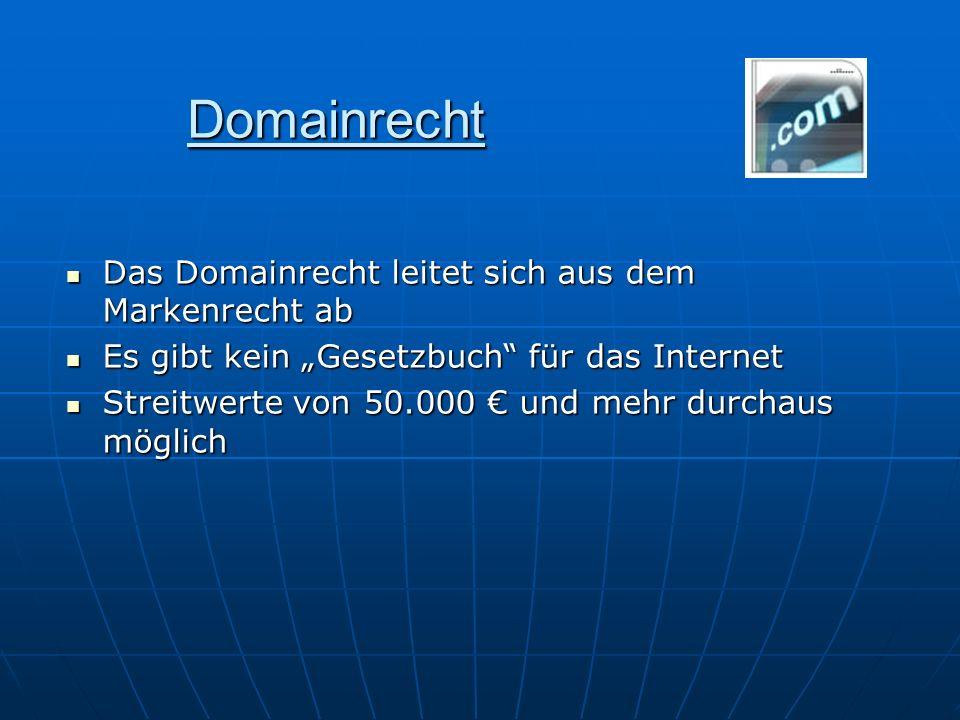 Domainrecht Das Domainrecht leitet sich aus dem Markenrecht ab