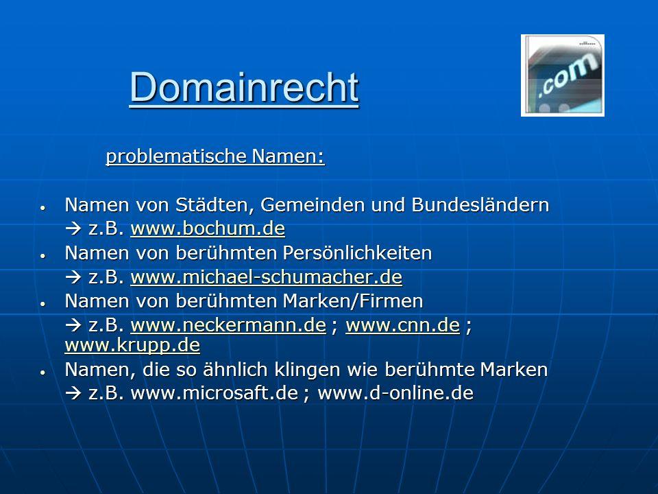 Domainrecht problematische Namen: