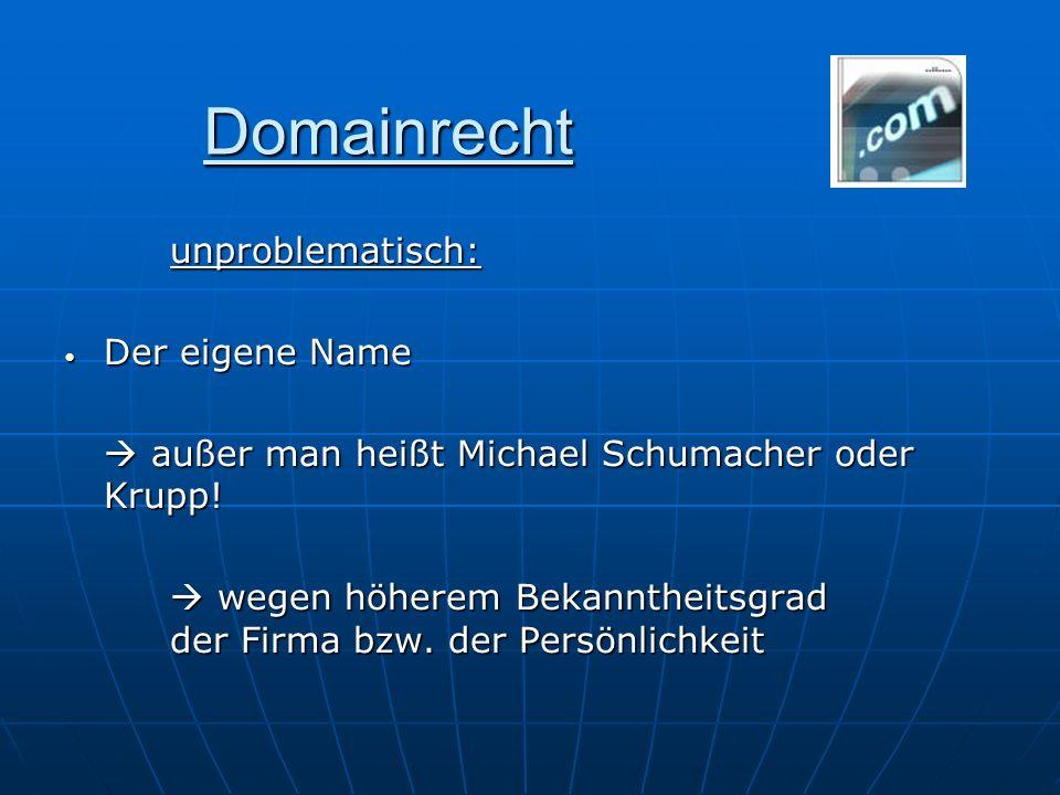Domainrecht unproblematisch: Der eigene Name