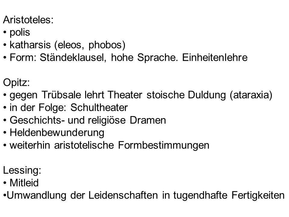 Aristoteles: • polis. • katharsis (eleos, phobos) • Form: Ständeklausel, hohe Sprache. Einheitenlehre.