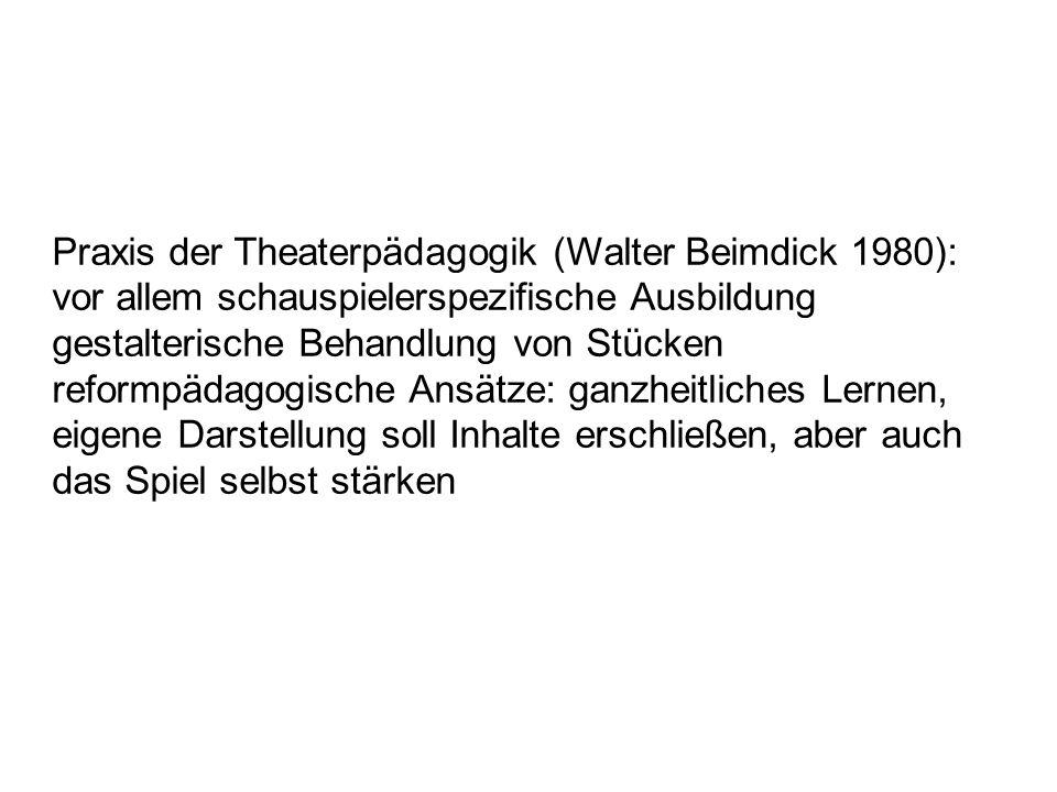 Praxis der Theaterpädagogik (Walter Beimdick 1980):