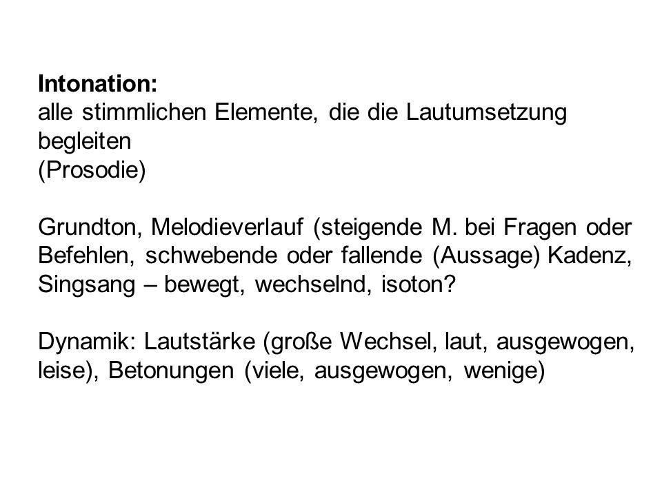 Intonation: alle stimmlichen Elemente, die die Lautumsetzung begleiten. (Prosodie)