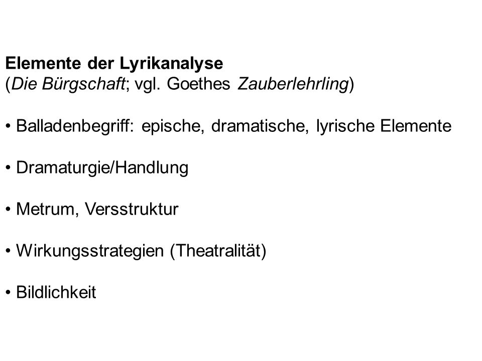 Elemente der Lyrikanalyse