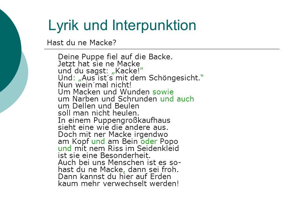 Lyrik und Interpunktion