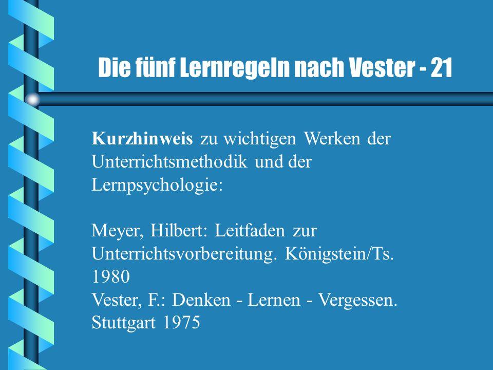 Die fünf Lernregeln nach Vester - 21