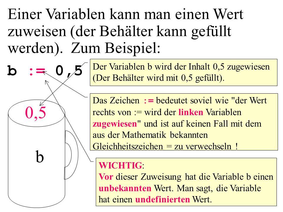 Einer Variablen kann man einen Wert zuweisen (der Behälter kann gefüllt werden). Zum Beispiel: