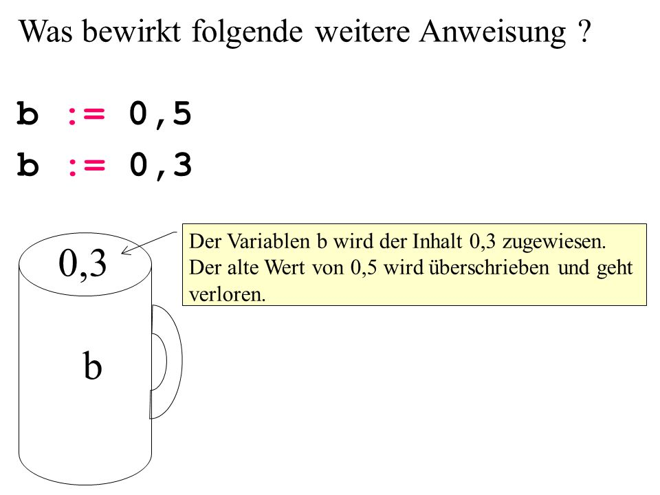 0,3 b b := 0,5 b := 0,3 Was bewirkt folgende weitere Anweisung