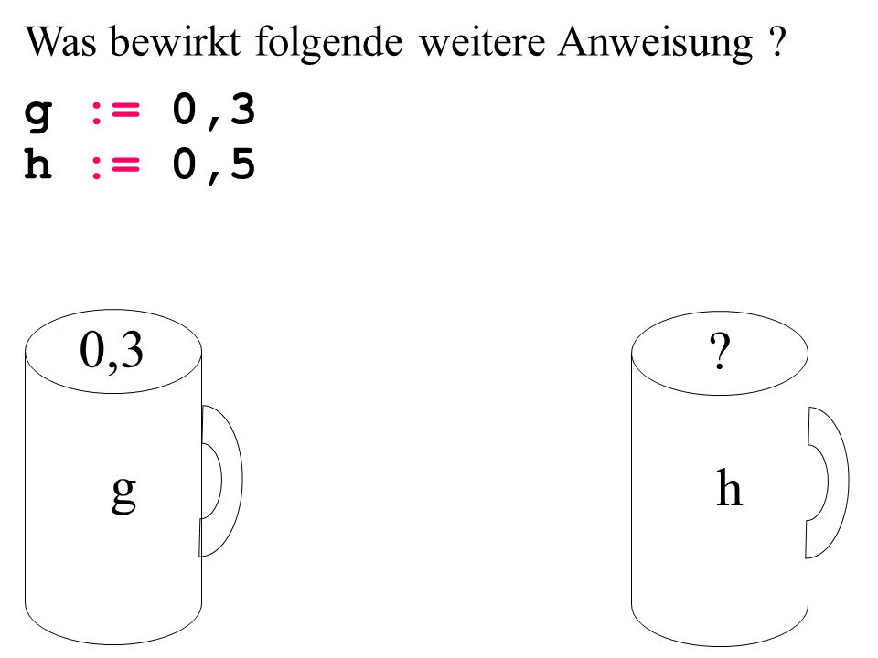 0,3 g h g := 0,3 h := 0,5 Was bewirkt folgende weitere Anweisung