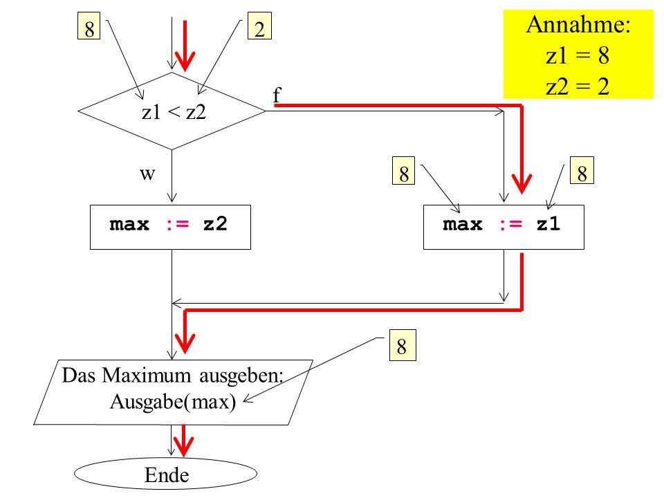 Annahme: z1 = 8 z2 = 2 8 2 f z1 < z2 w 8 8 max := z2 max := z1 8