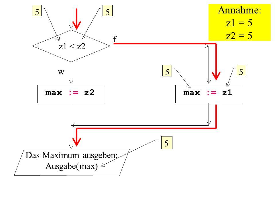 Annahme: z1 = 5 z2 = 5 5 5 f z1 < z2 w 5 5 max := z2 max := z1 5