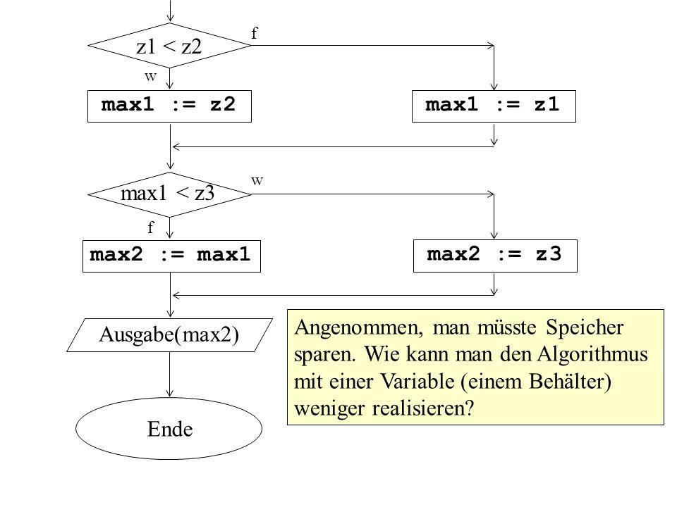 max1 := z2 max1 := z1 max2 := max1 max2 := z3