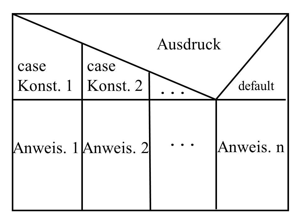 Ausdruck case Konst. 1 case Konst. 2 ... ... Anweis. n Anweis. 1
