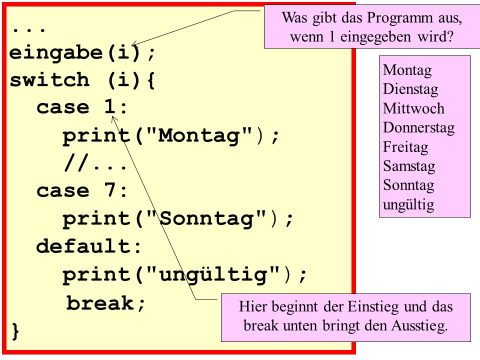 eingabe(i); switch (i){ case 1: print( Montag ); //