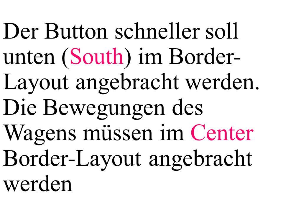 Der Button schneller soll unten (South) im Border-Layout angebracht werden.