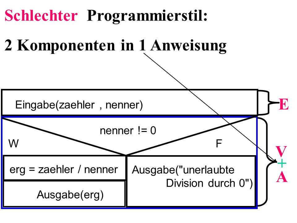 Schlechter Programmierstil: 2 Komponenten in 1 Anweisung
