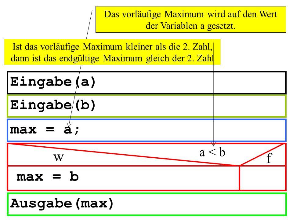 Das vorläufige Maximum wird auf den Wert der Variablen a gesetzt.