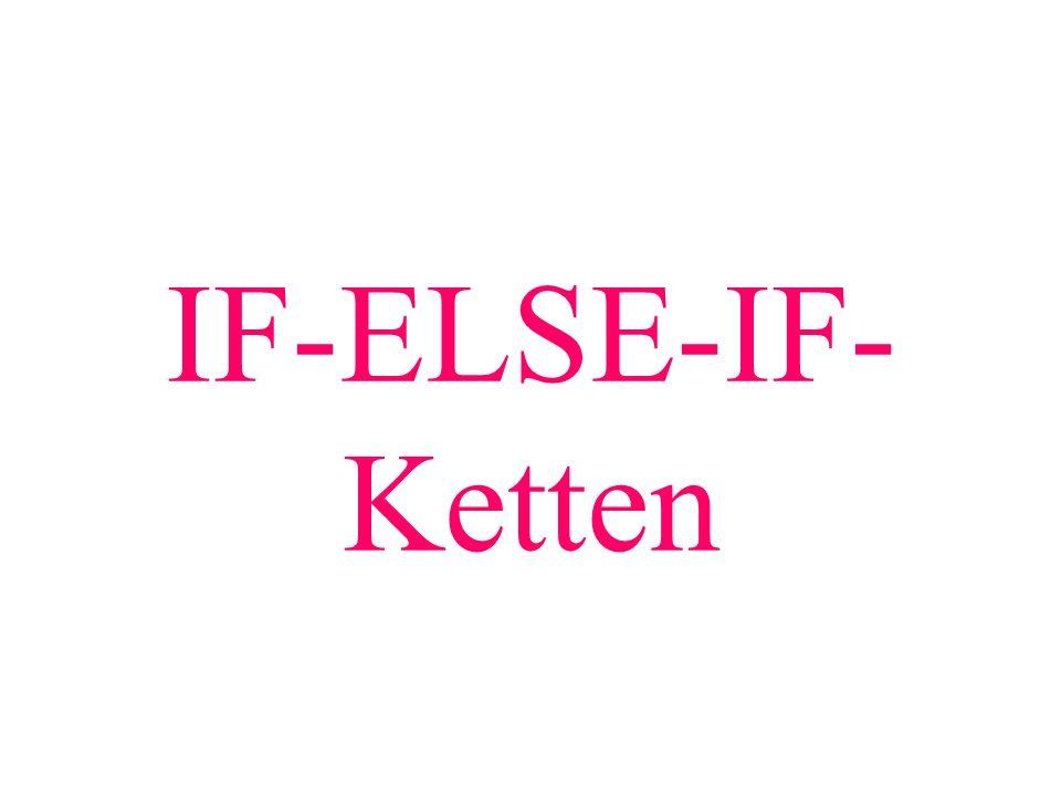 IF-ELSE-IF-Ketten Weiter mit PP.