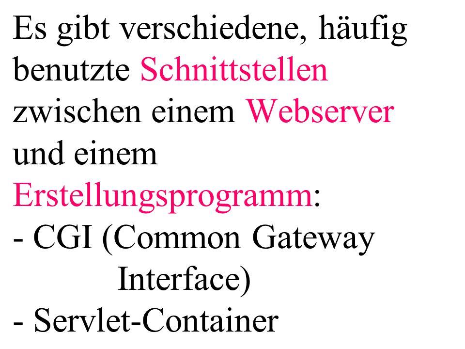 Es gibt verschiedene, häufig benutzte Schnittstellen zwischen einem Webserver und einem Erstellungsprogramm: - CGI (Common Gateway Interface) - Servlet-Container