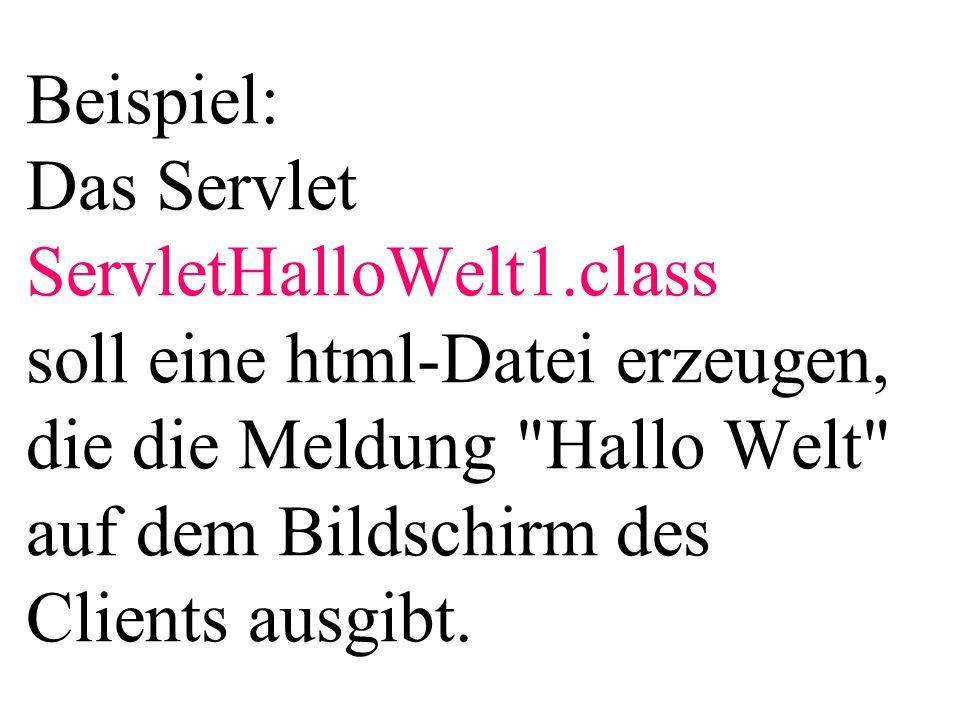 Beispiel: Das Servlet ServletHalloWelt1