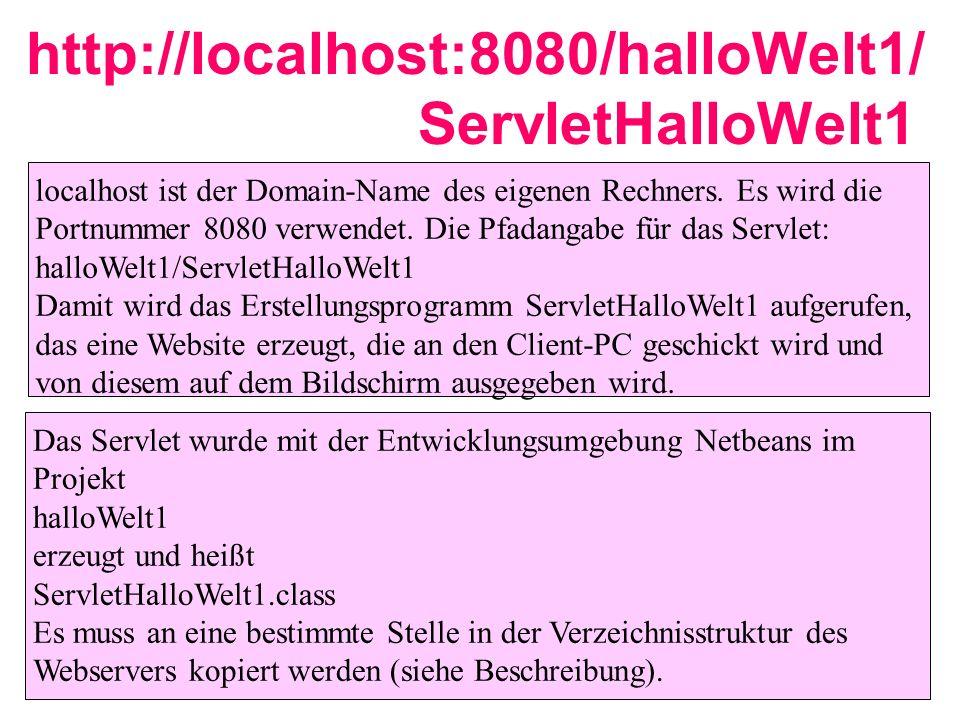 http://localhost:8080/halloWelt1/ ServletHalloWelt1