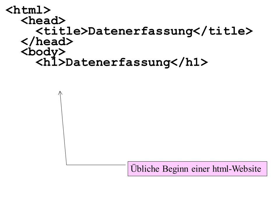 <title>Datenerfassung</title> </head> <body>