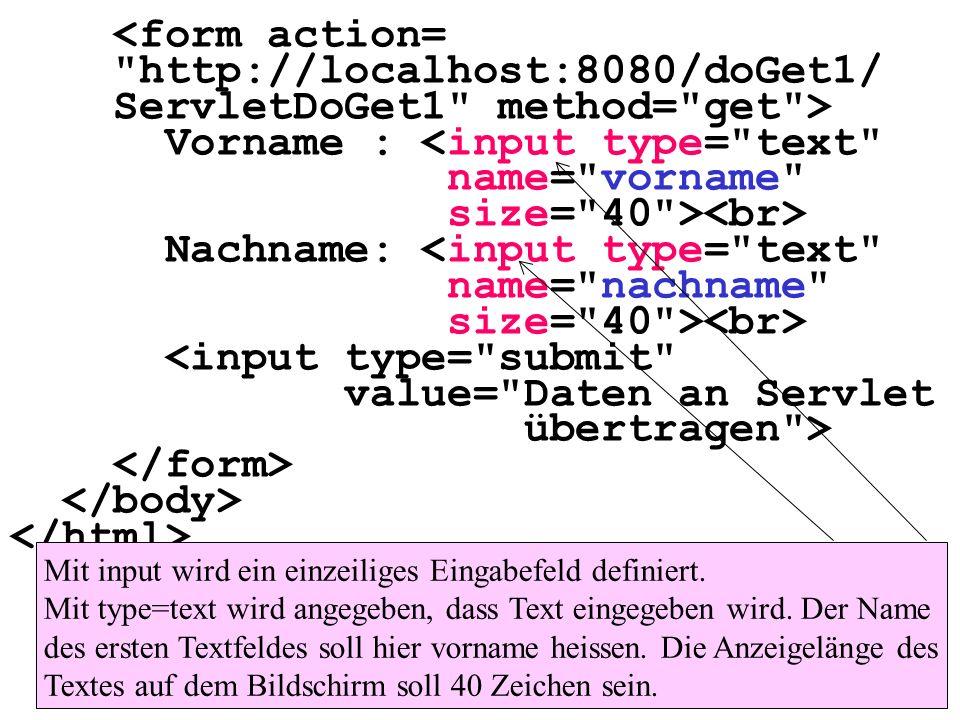 ServletDoGet1 method= get > Vorname : <input type= text