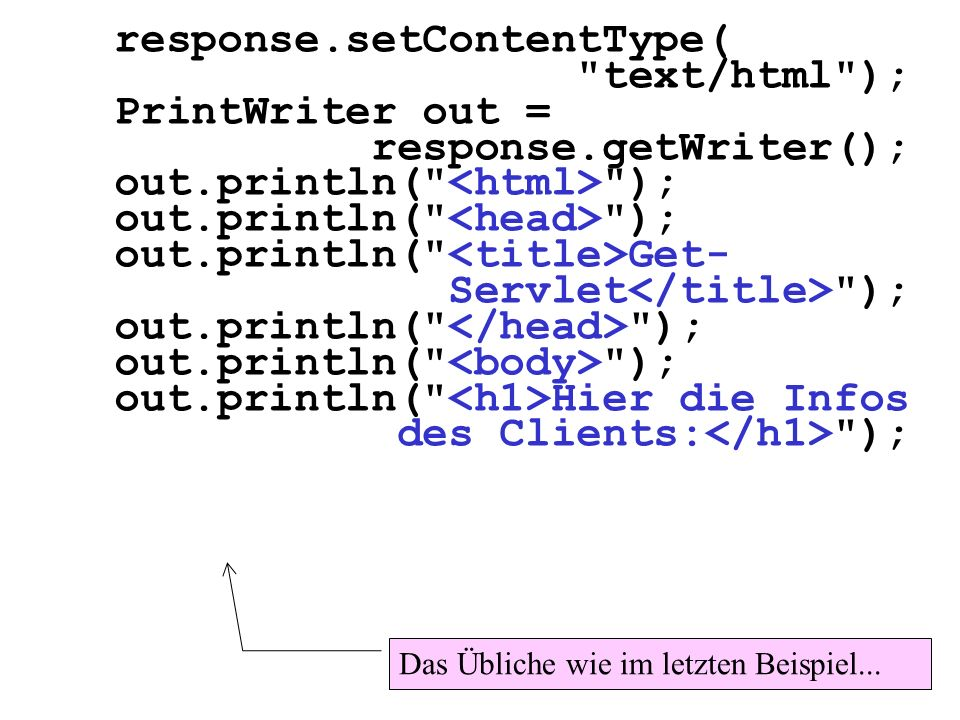response.setContentType( text/html ); PrintWriter out =