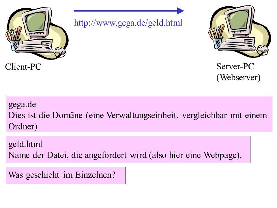 http://www.gega.de/geld.htmlClient-PC. Server-PC (Webserver) gega.de. Dies ist die Domäne (eine Verwaltungseinheit, vergleichbar mit einem Ordner)