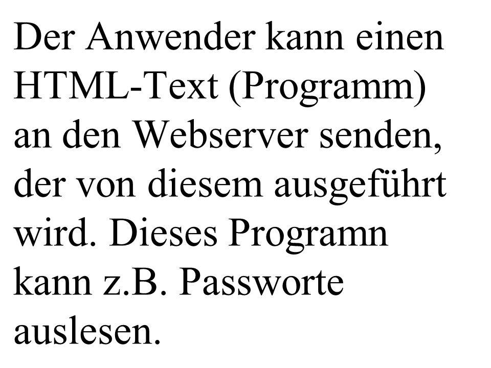Der Anwender kann einen HTML-Text (Programm) an den Webserver senden, der von diesem ausgeführt wird.