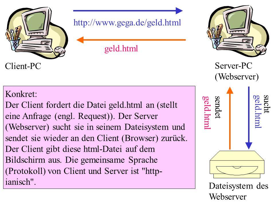http://www.gega.de/geld.html geld.html. Client-PC. Server-PC (Webserver)