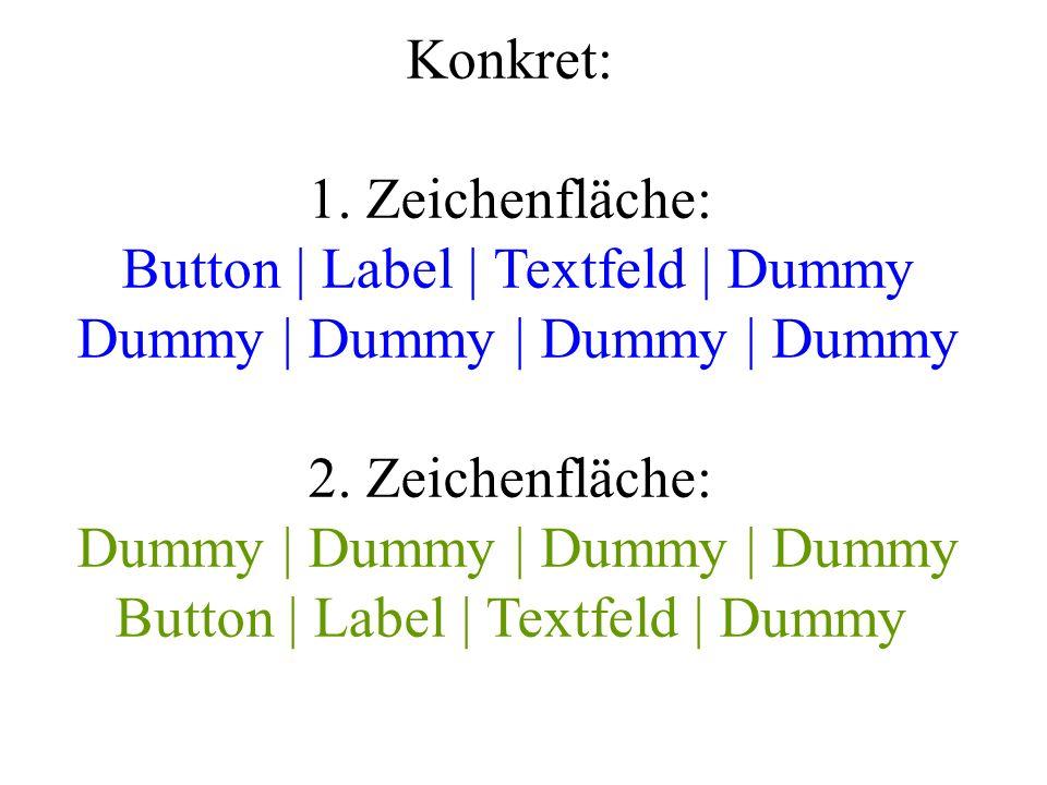 Konkret: 1. Zeichenfläche: Button | Label | Textfeld | Dummy Dummy | Dummy | Dummy | Dummy 2.
