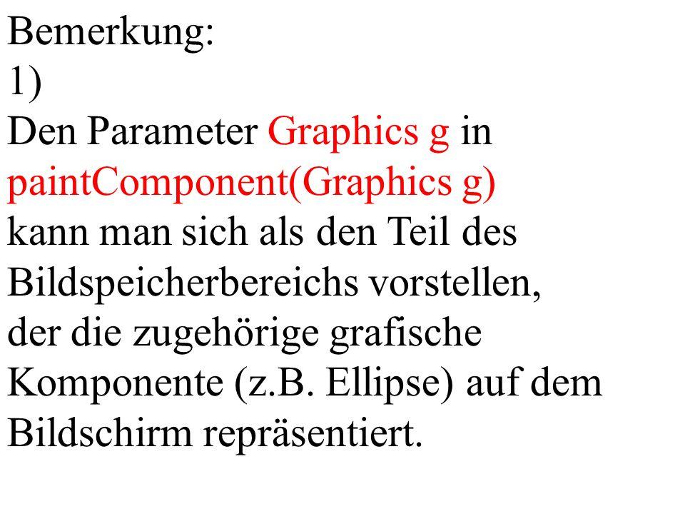 Bemerkung:1) Den Parameter Graphics g in. paintComponent(Graphics g) kann man sich als den Teil des Bildspeicherbereichs vorstellen,