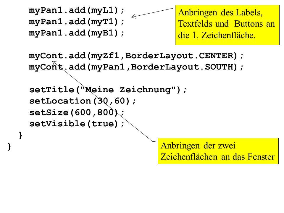 myPan1.add(myL1); myPan1.add(myT1); myPan1.add(myB1); myCont.add(myZf1,BorderLayout.CENTER); myCont.add(myPan1,BorderLayout.SOUTH);